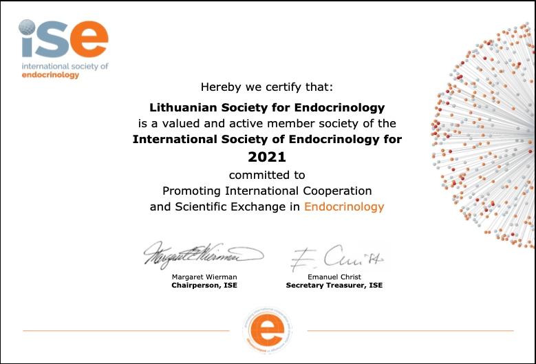 Draugija pratęsė narystę ISE (European Society of Endocrinology)